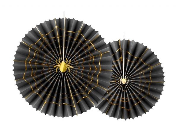 Black & Gold Spider Web Detail Pinwheels (2)